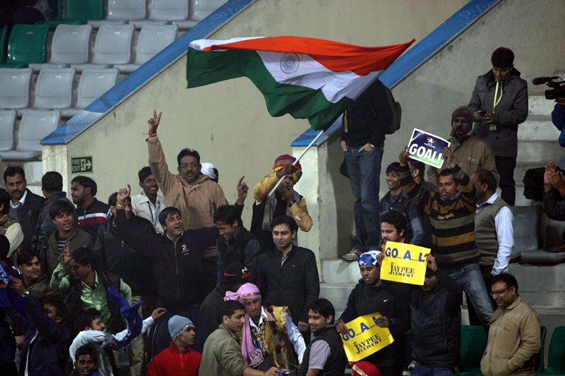 Punjab spectators encouraging their team during Hero Hockey India League 2013 at Delhi on 14th Jan 2013.