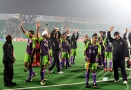 Delhi Waveriders after winning their inaugural match against Punjab Warriors at Delhi on 14th Jan 2013.