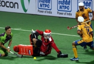 Jaboc Stockmann (GK) of Jaypee Punjab Warriors in action.