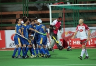 Jaypee Punjab Warriors celebrating after goal against Mumbai Magicians