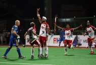 Sandeep Singh is celebrating after hitting a goal against JPW at Mumbai