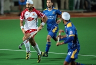 Sandeep Singh is in action against JPW at Mumbai