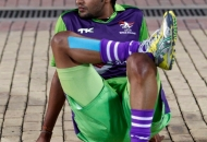Yuvraj Walmiki player of Delhi Waveriders during warm up session