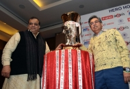 Hockey India Secretary General & Chairman of Hero Hockey India League Dr. Narinder Batra and Managing Director & CEO of Hero MotoCorp Ltd Mr. Pawan Munjal with the Hero Hockey India League Trophy