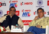 Hockey India Secretary General & Chairman of Hero Hockey India League Dr. Narinder Batra and Managing Director & CEO of Hero MotoCorp Ltd Mr. Pawan Munjal addressing the Media