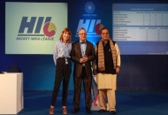 Dr. Narinder Batra, Secretary General Hockey India and Chairman Hockey India League with Bob Hayton and his colleague