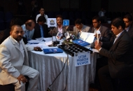 Uttar Pradesh Wizards in a discussion during the Hockey India League Auction