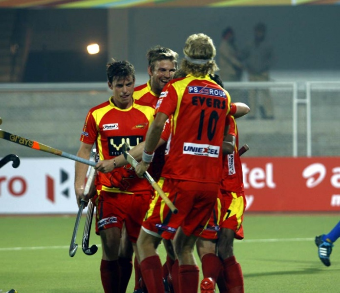 Jackson Ashley player of Ranchi Rhinos cheering after scoring a first goal against Punjab Warriors at Jalandhar on 16th Jan 2013