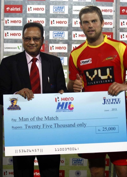 Dwyer Jame captain of Ranchi Rhinos during presentation ceremony after winning the match against Punjab Warriors at Jalandhar on 16th Jan 2013