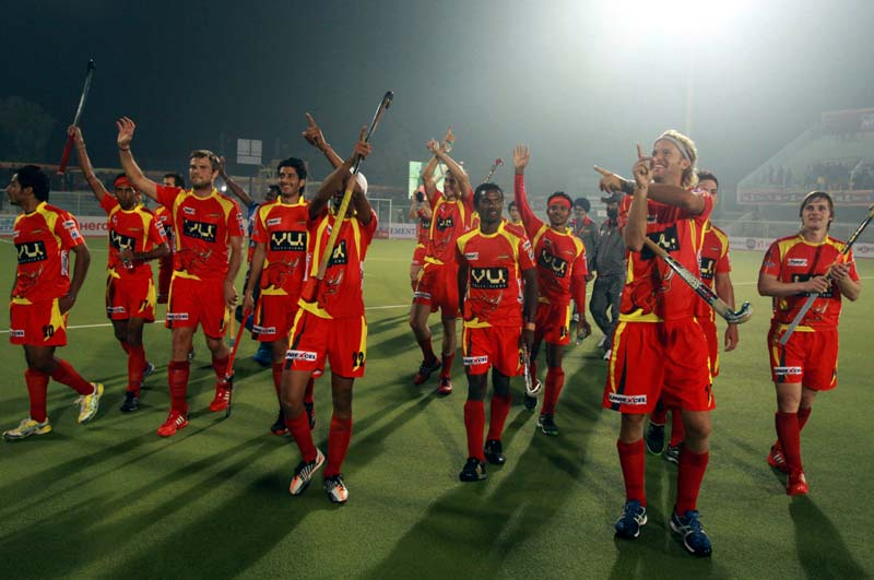 Ranchi Rhinos player celebrating after winning the match against Punjab Warriors at Jalandhar on 16th Jan 2013
