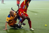 Punjab Warriors and Ranchi Rhinos Players in action during the match between them at Jalandhar on 16th Jan 2013.