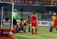 Punjab Warriors team try to save the goal