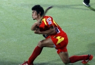 Kothajit Singh player of Ranchi Rhinos in action during the match
