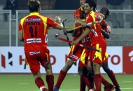 Mandeep Singh player of Ranchi Rhinos scoring 2nd goal for their team