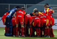 Ranchi Rhinos team huddle before start the match at Jalandhar on 16th Jan 2013.