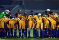 Punjab Warriors team huddle before start the match at Jalandhar on 16th Jan 2013.