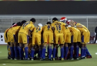 Punjab team huddle before match match between UP Wizards vs Punjab Warriors at Jalandhar on 17th Jan 2013