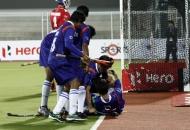 UP Wizards team cheering after scoring a 1st goal  against Punjab Warriors at Jalandhar on 17th Jan 2013