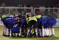 UP Wizards team huddle before match between UP Wizards vs Punjab Warriors at Jalandhar on 17th Jan 2013
