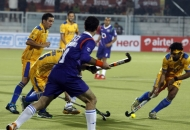First goal for Punjab hitting by Dwyer Jame his captain against UP Wizards at Jalandhar on 17th Jan 2013