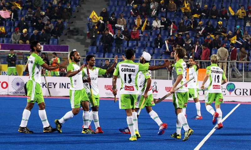 DWR celebrates after scoring a goal against JPW in HHIL 2014 match on 25th Jan 2014 at mohali