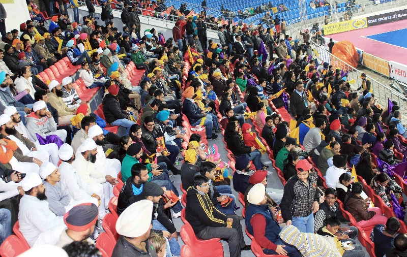 fans cheering for JPW team in HHIL 2014 match on 25th Jan-2014-at mohali