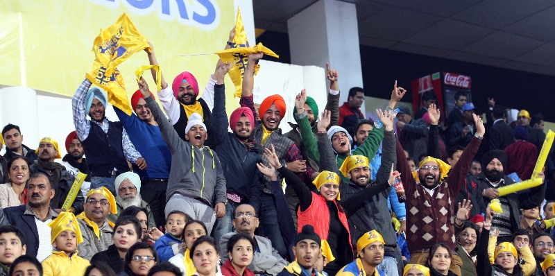 fans cheering for JPW team in HHIL 2014 match on 25th Jan 2014 at mohali