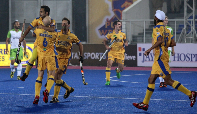 JPW team celebrates after scoring a goal aganist DWR in HHIL 2014 match on 25th Jan 2014 at mohali