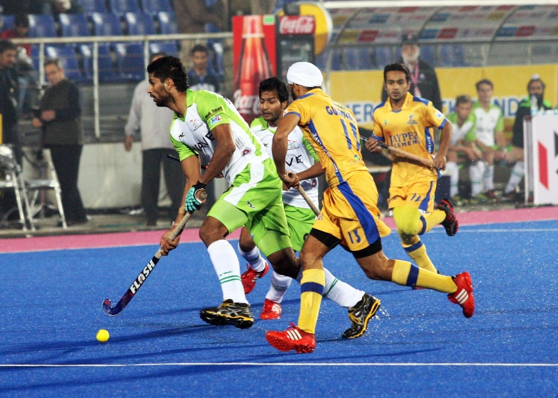 Rupinder Pal Singh of DWR in action against JPW