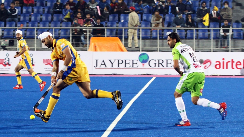 Sandeep Singh of JPW in action during the match