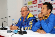 Barry Dancer coach and Jamie Dwyer captain of JPW in press conference