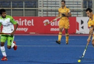 Jamie Dwyer captain of JPW in action against DWR in HHIL 2014 match on 25th Jan 2014 at mohali