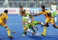 lloyd Norris Jones of DWR in action against JPW in HHIL 2014 match on 25th Jan 2014 at mohali