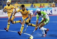 talwinder singh of DWR in action against JPW in HHIL 2014 match on 25th Jan 2014 at mohali