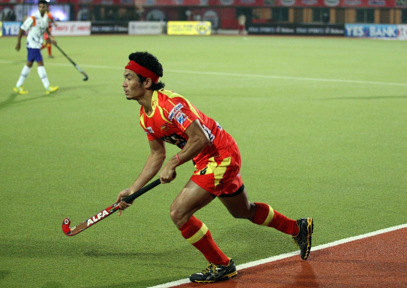 KOTHAJIT SINGH OF RR IN ACTION AGAINST UPW IN THEIR HERO HOCKEY INDIA LEAGUE 2014 ON 26TH JAN 2014 AT RANCHI
