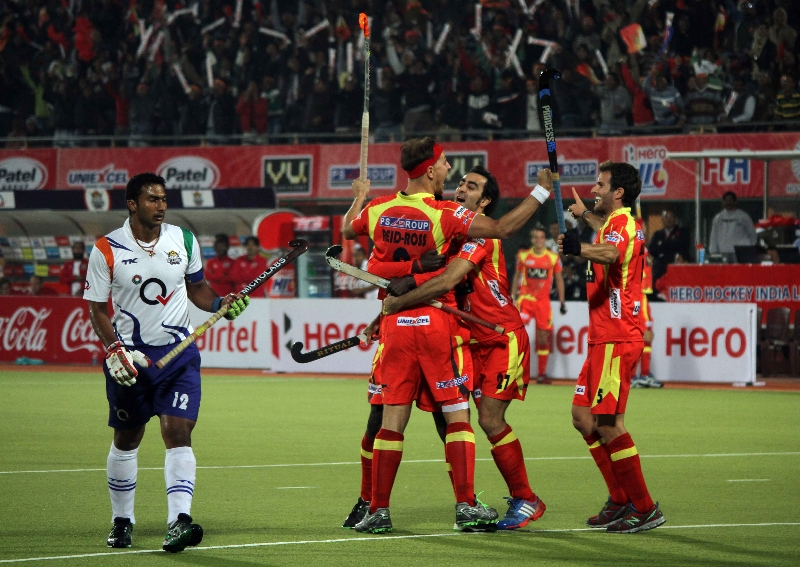 RR team celebrate after scoring a goal against UPW during the match