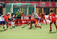 birendra lakra RR in action against UPW during the match