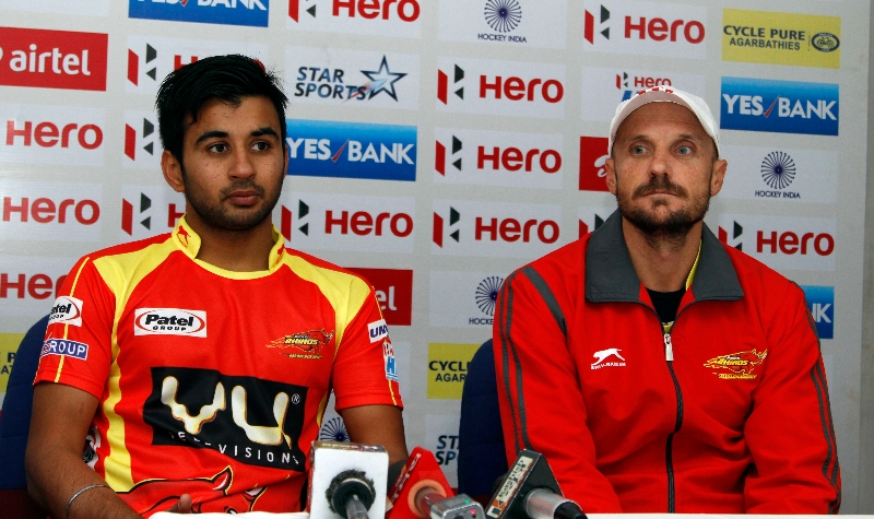 manpreet singh captain and gregg clark coach of RR team during post match press conference