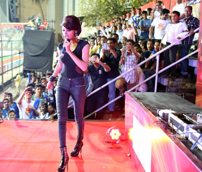 bollywood actress sherlyn chopra performing during the game