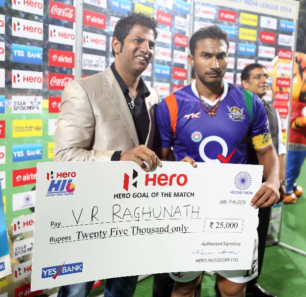 VR Raghunath receiving Hero Goal of the match