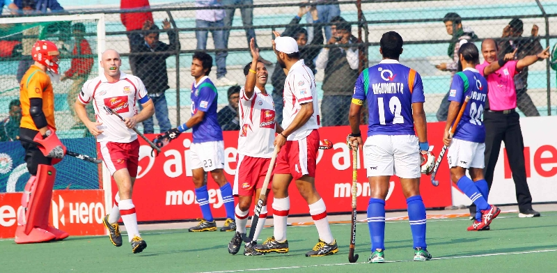 DMM celebrates after scoring a goal against UPW at lucknow