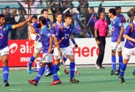 UPW celebrates after scoring a goal against DMM at lucknow