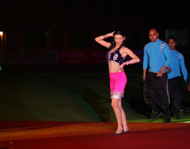 claudia ciesla performing during pre-match event organize by hockey india during hhil2013 at ranchi hockey stadium on date 18-01-2013