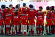 ranchi-rhinos-team-huddles-during-their-warp-up-session-at-ranchi-against-up-wizards-1st-semi-final-match-on-9th-feb-2013-4