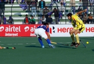Jeroen hertzberger of UP wizards scoring a first goal for UP wizards against Ranchi Rhinos match at lucknow on 20th Jan 2013