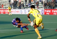 Raghunath captain of UP Wizards scoringa-second goal for UP Wizards against Rhinos match at lucknow on 20th Jan 2013 (Pic-4)