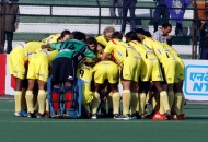 Ranchi Rhinos team huddle during match at lucknow