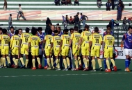 Up Wizards and Ranchi Rhinos team before the match
