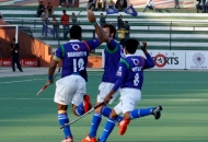 Players celebrating second goal against Ranchi Rhinos at lucknow