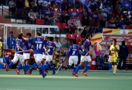 UP wizards celebrating their second goal against rhinos match at lucknow on 20th Jan 2013 (pic-1)